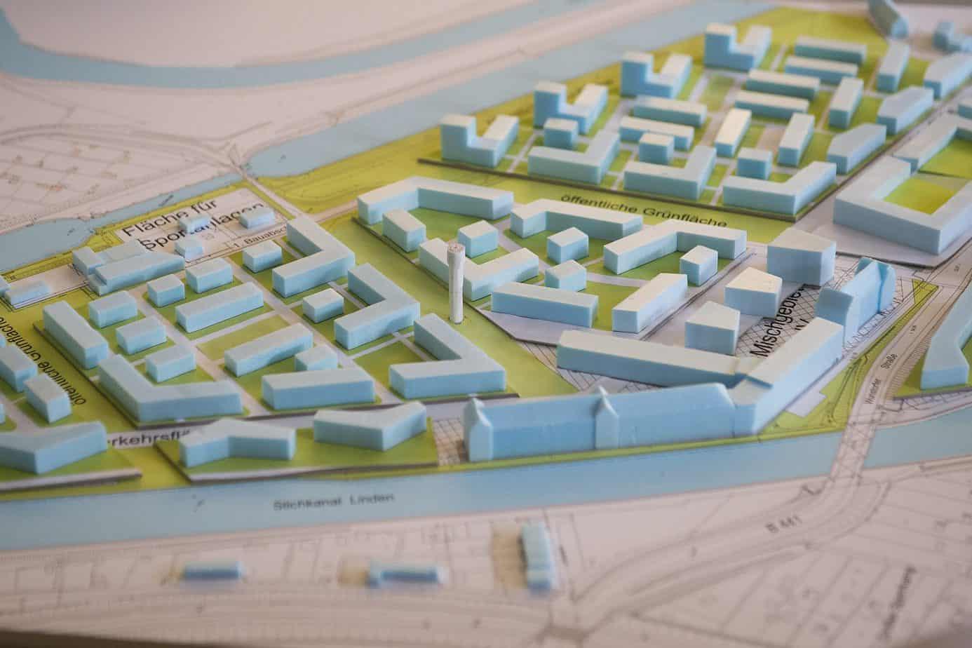 Modell der Wasserstadt Foto: Nigel Treblin