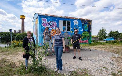 Bunter Bauwagen in der Wasserstadt: Das steckt dahinter